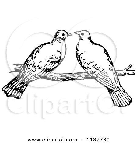 Vintage Love Birds Cli...