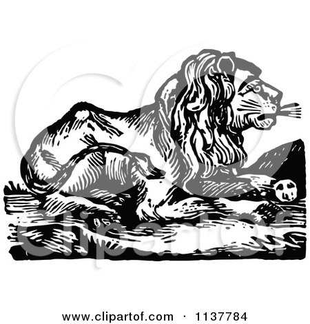 Clipart Of A Retro Vintage Black And White Lion Resting - Royalty Free Vector Illustration by Prawny Vintage