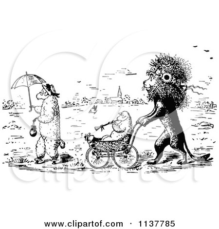 Clipart Of A Retro Vintage Black And White Lion Pushing A Lamb In A Stroller - Royalty Free Vector Illustration by Prawny Vintage
