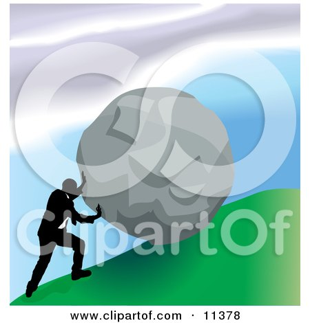 Strong Business Man Pushing a Boulder up a Hill Clipart Illustration by AtStockIllustration