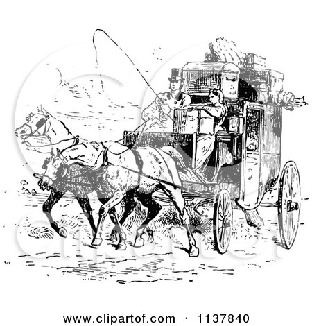 Retro Vintage Black And White Moving Couple And Horse Drawn Carriage Posters, Art Prints by ...