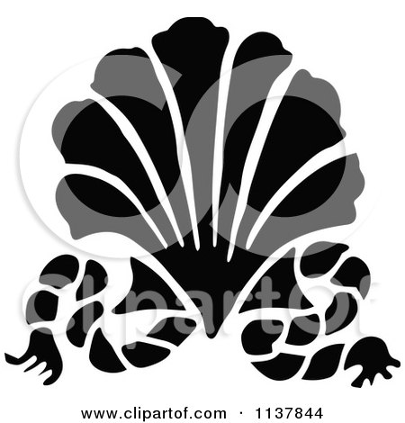 Clipart Of A Retro Vintage Silhouetted Scallop Shell And Rope - Royalty Free Vector Illustration by Prawny Vintage