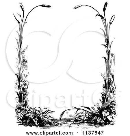 Clipart Of A Retro Vintage Black And White Border Of Reeds - Royalty Free Vector Illustration by Prawny Vintage