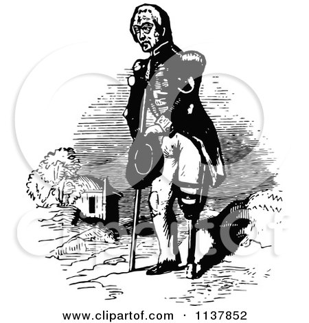 Clipart Of A Retro Vintage Black And White Amputee Military Man With A Peg Leg - Royalty Free Vector Illustration by Prawny Vintage