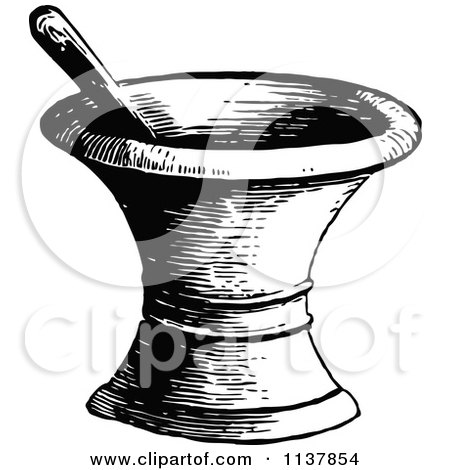 Clipart Of A Retro Vintage Black And White Mortar And Pestle - Royalty Free Vector Illustration by Prawny Vintage