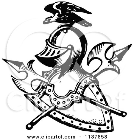 Clipart of a Vintage Black and White Knight Helmet - Royalty Free ...