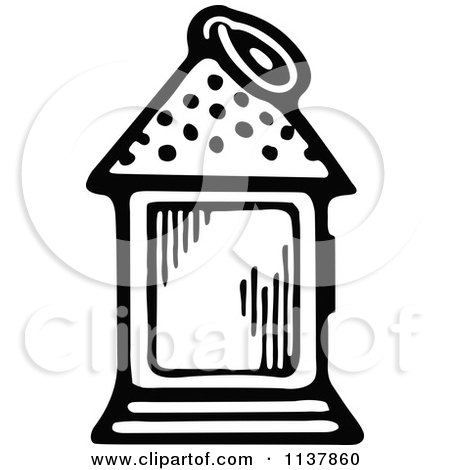 Clipart Of A Retro Vintage Black And White Lantern - Royalty Free Vector Illustration by Prawny Vintage