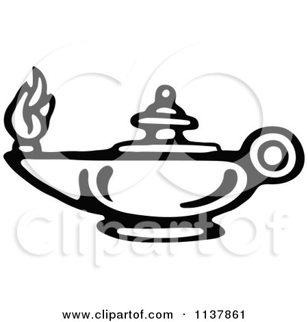 Clipart Of A Retro Vintage Black And White Oil Lamp - Royalty Free Vector Illustration by Prawny Vintage