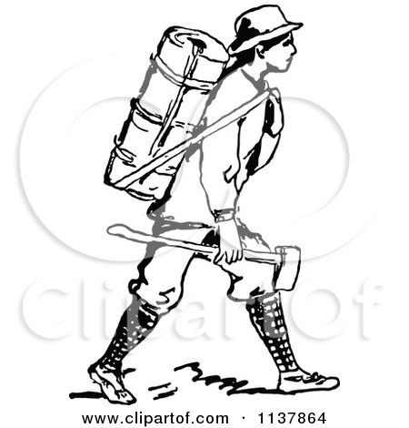 Clipart Of A Retro Vintage Black And White Man With A Backpack And