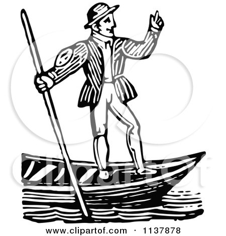 Clipart Of A Retro Vintage Black And White Gondolier Man - Royalty Free Vector Illustration by Prawny Vintage