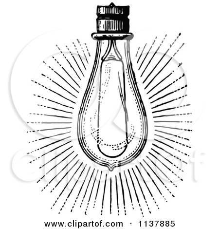 Clipart Of A Retro Vintage Black And White Shining Light Bulb - Royalty Free Vector Illustration by Prawny Vintage