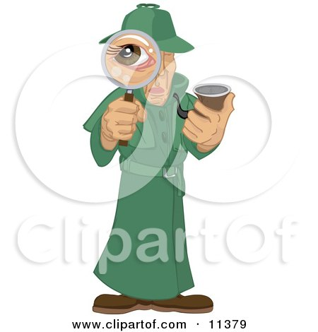 Male Private Investigator Spy in a Green Trench Coat, Smoking a Tobacco Pipe and Looking Through a Magnifying Glass Clipart Illustration by AtStockIllustration