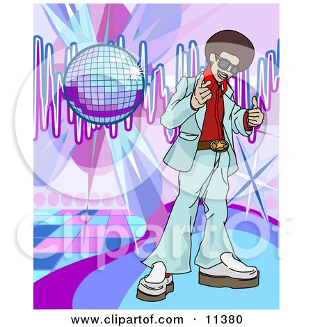 Funkster Man With an Afro Standing on a Dance Floor Under a Disco Ball in a Club Clipart Illustration by AtStockIllustration
