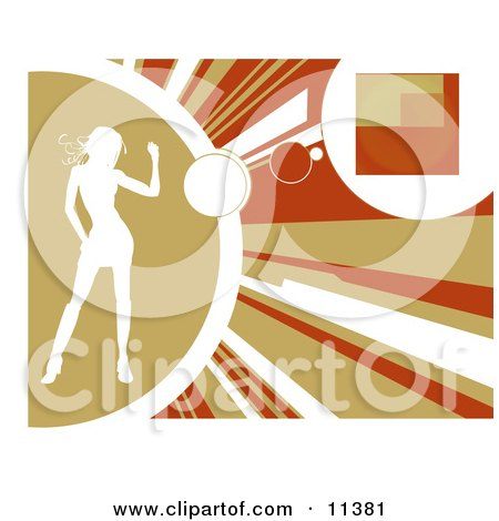 Silhouetted Woman Dancing on a yellow, orange and brown background. Background Clipart Illustration by AtStockIllustration
