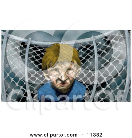 Miserable Little Boy by a Chainlink Fence on a Playground on a Stormy Day Posters, Art Prints