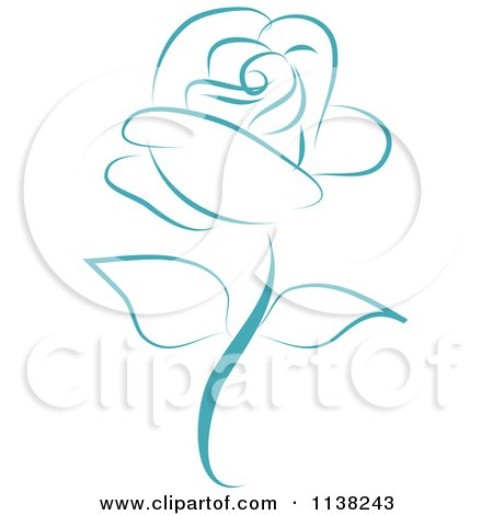 Clipart Of A Beautiful Single Blue Rose - Royalty Free Vector Illustration by Vitmary Rodriguez