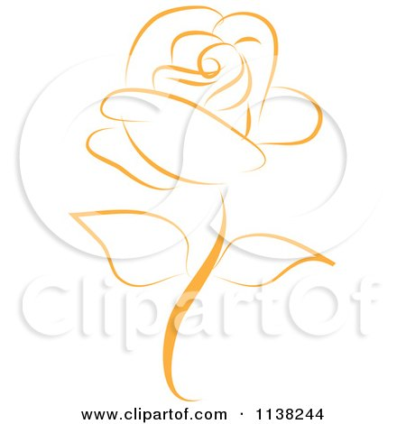 Clipart Of A Beautiful Single Gold Rose - Royalty Free Vector Illustration by Vitmary Rodriguez
