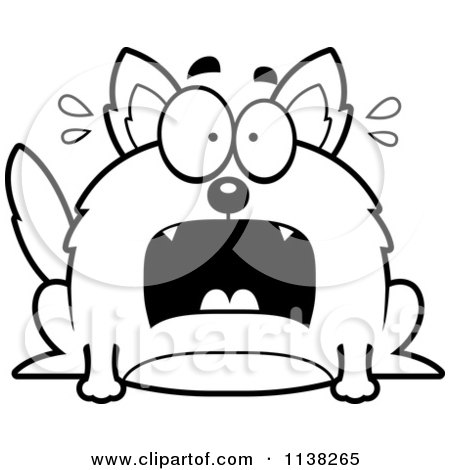 Cartoon Clipart Of An Outlined Chubby Scared Wolf - Black And White Vector Coloring Page by Cory Thoman