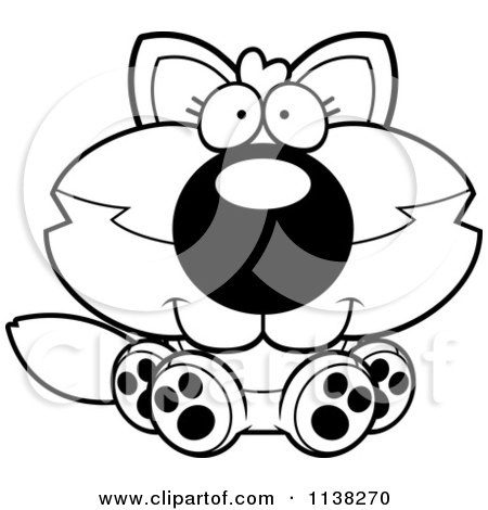 Cartoon Clipart Of An Outlined Cute Baby Wolf Sitting - Black And White Vector Coloring Page by Cory Thoman