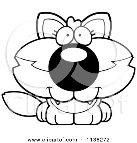 Cartoon Clipart Of An Outlined Cute Baby Wolf - Black And White Vector Coloring Page by Cory Thoman
