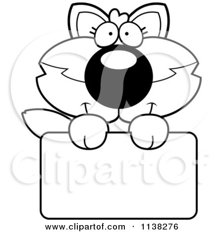 Cartoon Clipart Of An Outlined Cute Baby Wolf Holding A Blank Sign - Black And White Vector Coloring Page by Cory Thoman
