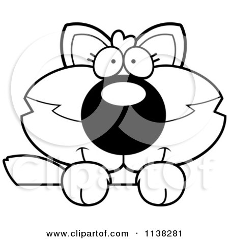 Cartoon Clipart Of An Outlined Cute Baby Wolf Looking Over A Surface - Black And White Vector Coloring Page by Cory Thoman