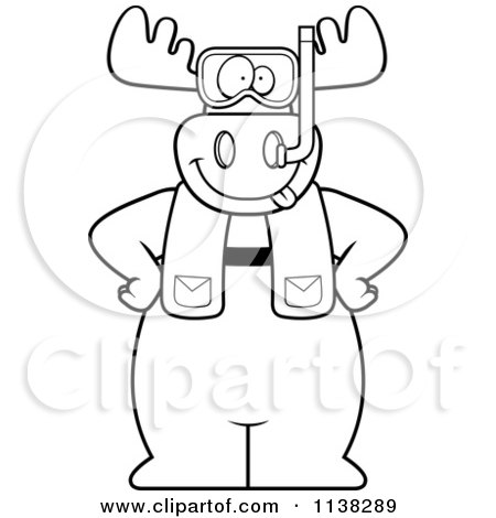 Cartoon Clipart Of An Outlined Moose In Scuba Gear - Black And White Vector Coloring Page by Cory Thoman