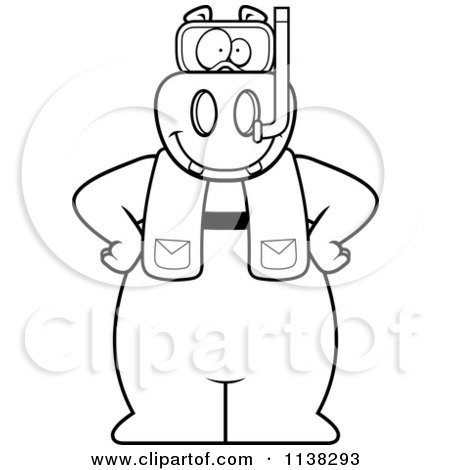 Cartoon Clipart Of An Outlined Hippo In Scuba Gear - Black And White Vector Coloring Page by Cory Thoman