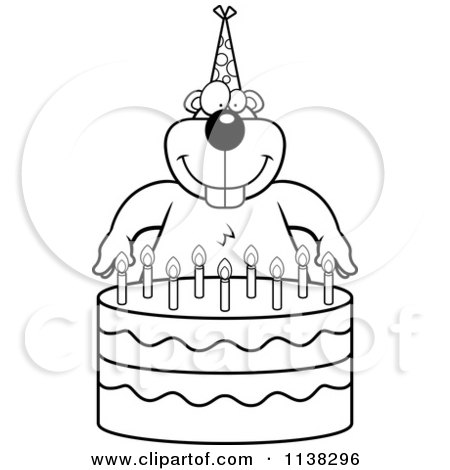 outlined gopher making a wish over candles on a birthday cake