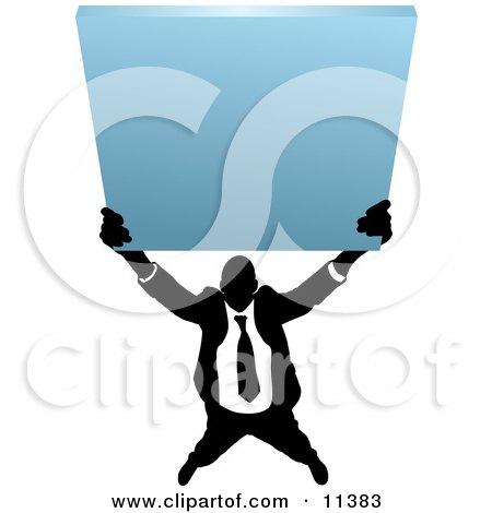 Silhouetted Business Man Holding up a Blank Sign Clipart Illustration by AtStockIllustration