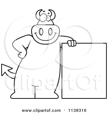 Cartoon Clipart Of An Outlined Big  Devil Leaning By A Sign - Black And White Vector Coloring Page by Cory Thoman