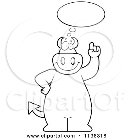 Cartoon Clipart Of An Outlined Big  Devil Talking About An Idea - Black And White Vector Coloring Page by Cory Thoman