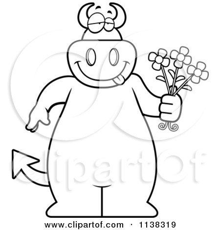 Cartoon Clipart Of An Outlined Big  Devil Holding Flowers - Black And White Vector Coloring Page by Cory Thoman