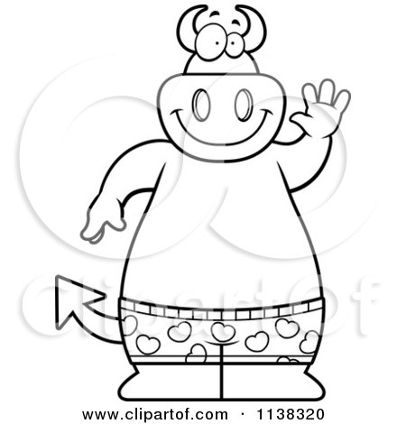 Cartoon Clipart Of An Outlined Big  Devil Waving And Wearing Boxers - Black And White Vector Coloring Page by Cory Thoman