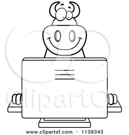 Cartoon Clipart Of An Outlined Big  Devil Using A Computer - Black And White Vector Coloring Page by Cory Thoman
