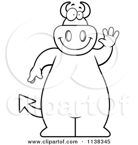 Cartoon Clipart Of An Outlined Big  Devil Waving - Black And White Vector Coloring Page by Cory Thoman