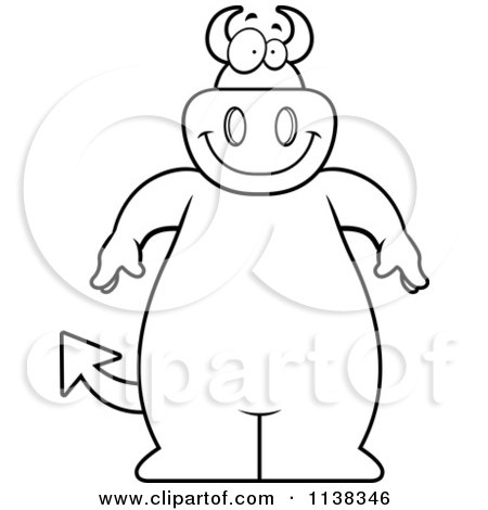 Cartoon Clipart Of An Outlined Big  Devil - Black And White Vector Coloring Page by Cory Thoman