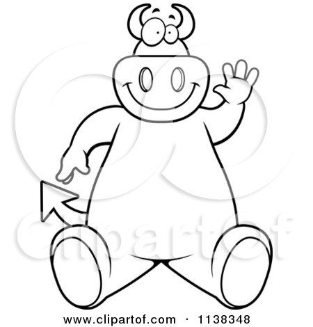 Cartoon Clipart Of An Outlined Big  Devil Sitting And Waving - Black And White Vector Coloring Page by Cory Thoman
