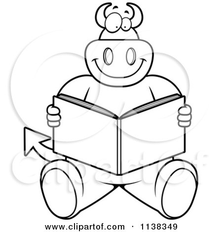 Cartoon Clipart Of An Outlined Big  Devil Sitting And Reading - Black And White Vector Coloring Page by Cory Thoman
