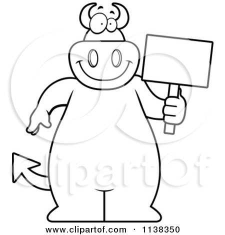 Cartoon Clipart Of An Outlined Big  Devil Holding A Sign - Black And White Vector Coloring Page by Cory Thoman