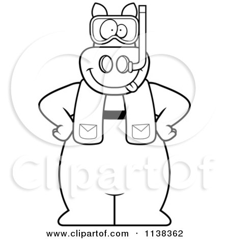 Cartoon Clipart Of An Outlined Pig In Scuba Gear - Black And White Vector Coloring Page by Cory Thoman