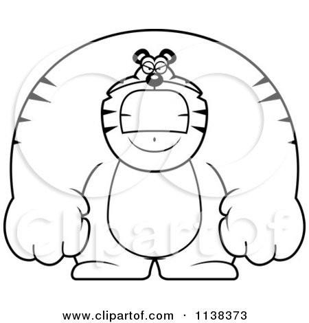 Cartoon Clipart Of An Outlined Angry Buff Tiger - Black And White Vector Coloring Page by Cory Thoman