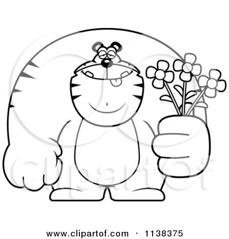 Cartoon Clipart Of An Outlined Buff Tiger Holding Flowers - Black And White Vector Coloring Page by Cory Thoman