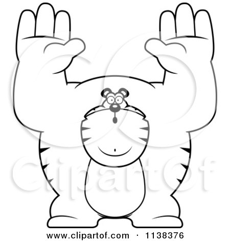 Cartoon Clipart Of An Outlined Buff Tiger Giving Up - Black And White Vector Coloring Page by Cory Thoman