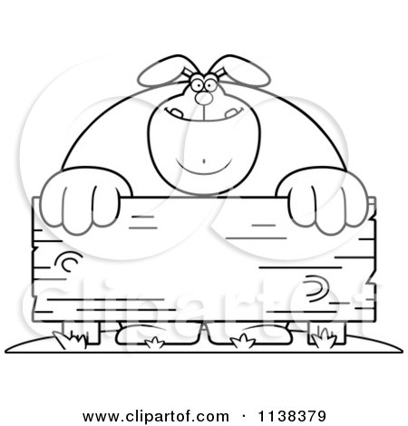 Cartoon Clipart Of An Outlined Buff Rabbit Behind A Wooden Sign - Black And White Vector Coloring Page by Cory Thoman