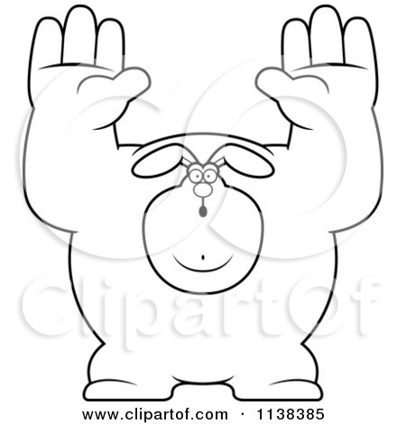 Cartoon Clipart Of An Outlined Buff Rabbit Giving Up - Black And White Vector Coloring Page by Cory Thoman