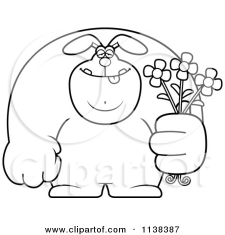 Cartoon Clipart Of An Outlined Buff Rabbit Holding Flowers - Black And White Vector Coloring Page by Cory Thoman