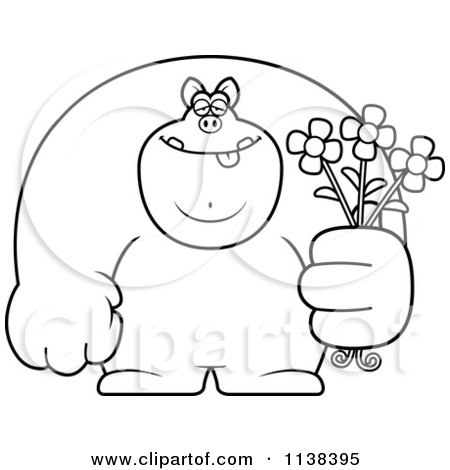 Cartoon Clipart Of An Outlined Buff Pig Holding Flowers - Black And White Vector Coloring Page by Cory Thoman