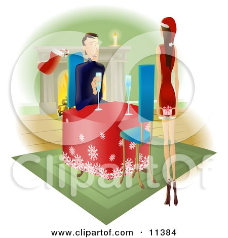 Man Watching His Wife or Girlfriend as She Walks Towards Him With a Gift Behind Her Back Clipart Illustration by AtStockIllustration