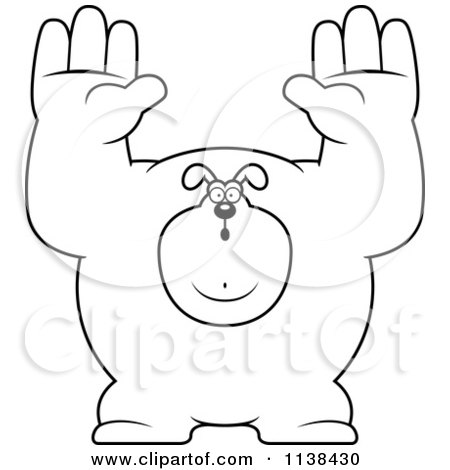 Cartoon Clipart Of An Outlined Buff Dog Giving Up